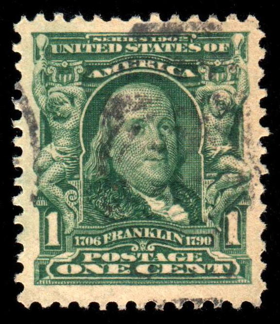 1 Cent Franklin Stamp Scott 300 Early 20th Century US Postal