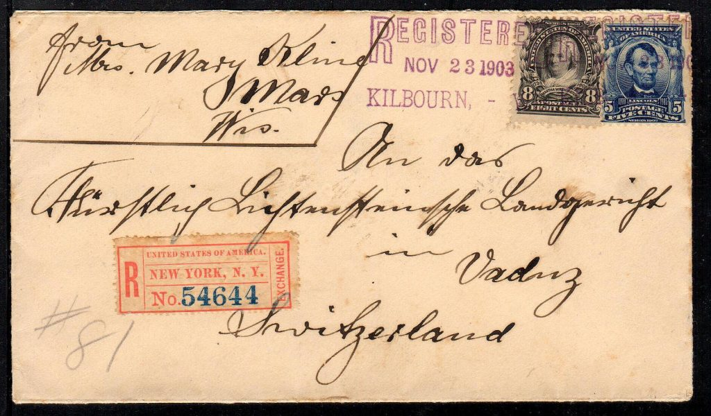 1903 registered cover to Liechtenstein.