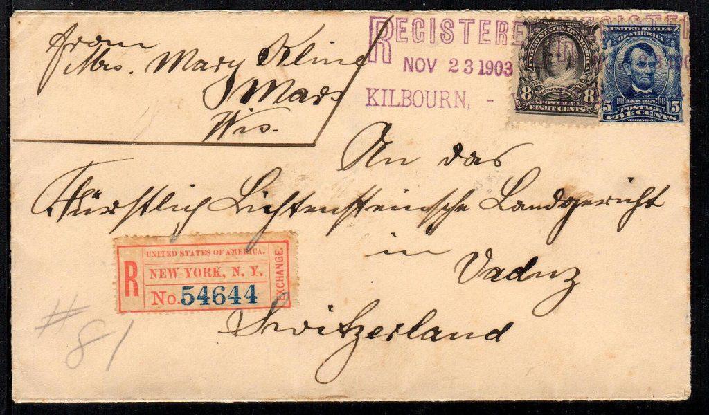 1903 registered cover to Liechtenstein.